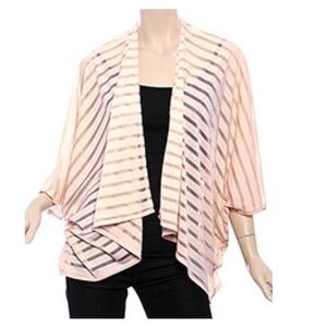 Tops - ❤️3 for $28❤️ Pink Jersey Striped Bolero